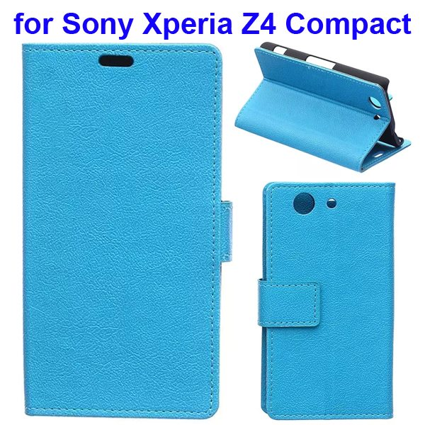 Karst Texture Flip Genuine Leather Wallet Case for Sony Xperia Z4 Compact with Card Slots (Blue)