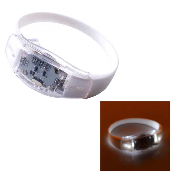 25cm Sound Control Style Silicone Luminous LED Bracelet (White)