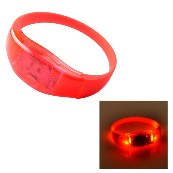 25cm Sound Control Style Silicone Luminous LED Bracelet (Red)