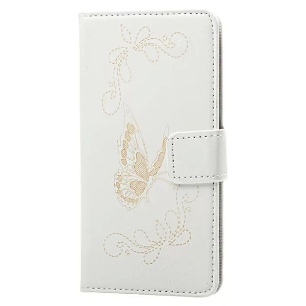 Laser Carved Wallet Style Flip Leather Case for Samsung Galaxy A3 with Card Slots (White)