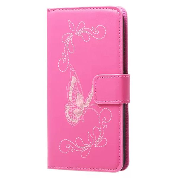 Laser Carved Wallet Style Flip Leather Case for Samsung Galaxy A3 with Card Slots (Rose)