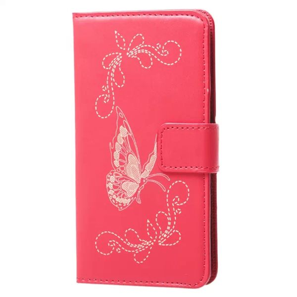 Laser Carved Wallet Style Flip Leather Case for Samsung Galaxy A3 with Card Slots (Red)