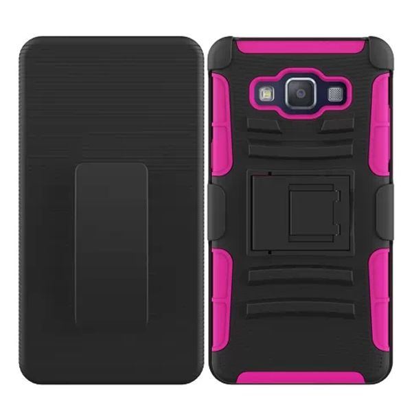 3 in 1 Snap-On Pattern Rugged Protective Hybrid Case for Samsung Galaxy A5 with Kickstand (Rose)