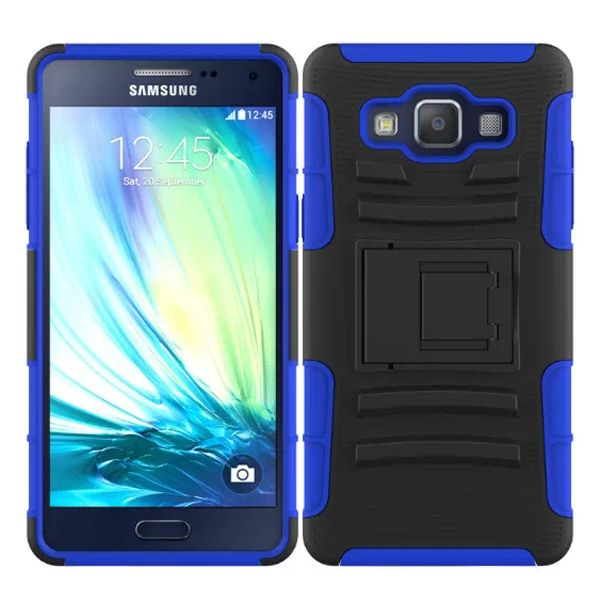 3 in 1 Snap-On Pattern Rugged Protective Hybrid Case for Samsung Galaxy A5 with Kickstand (Blue)