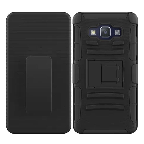 3 in 1 Snap-On Pattern Rugged Protective Hybrid Case for Samsung Galaxy A5 with Kickstand (Black)