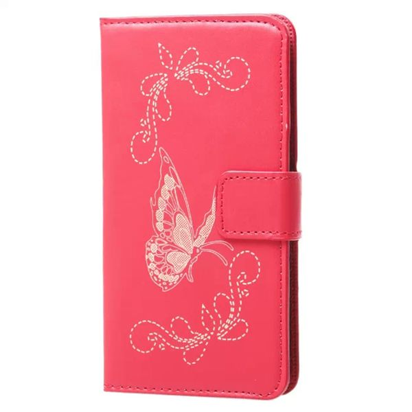Laser Carved Wallet Style Leather Flip Cover for Samsung Galaxy A5 with Card Slots (Red)