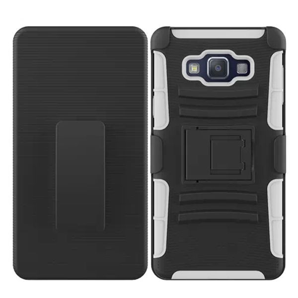 3 in 1 Snap-On Pattern Silicone and PC Case for Samsung Galaxy A7 with Kickstand (White)