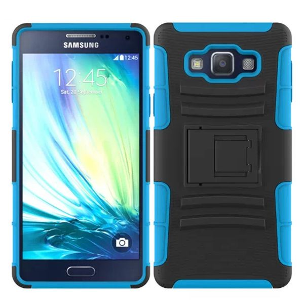 3 in 1 Snap-On Pattern Silicone and PC Case for Samsung Galaxy A7 with Kickstand (Light Blue)