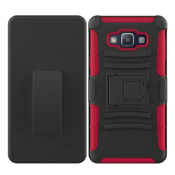 3 in 1 Snap-On Pattern Silicone and PC Case for Samsung Galaxy A7 with Kickstand (Red)