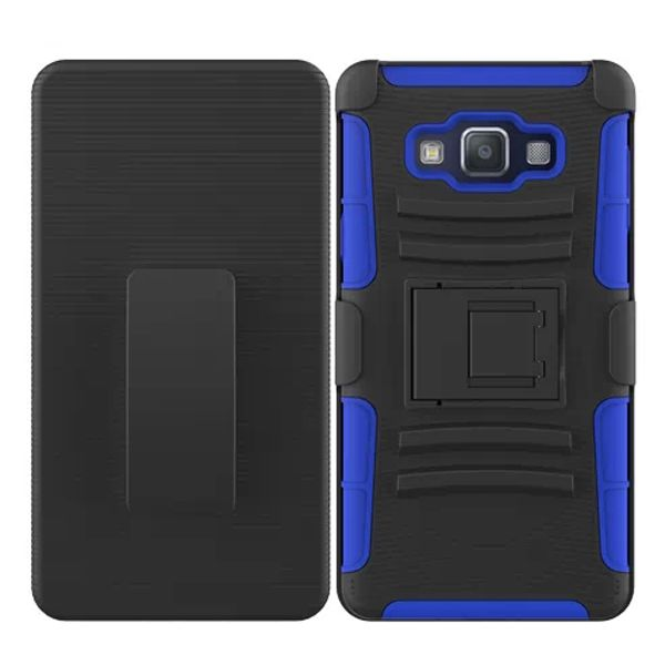 3 in 1 Snap-On Pattern Silicone and PC Case for Samsung Galaxy A7 with Kickstand (Dark Blue)