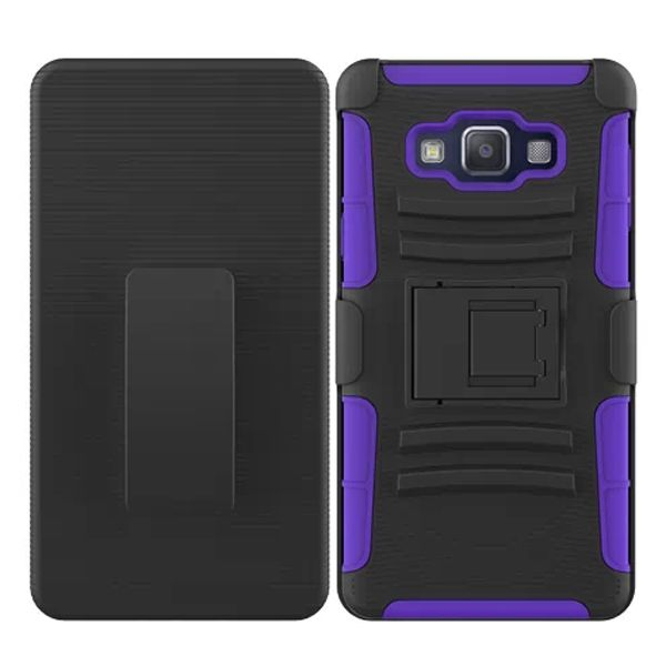 3 in 1 Snap-On Pattern Silicone and PC Case for Samsung Galaxy A7 with Kickstand (Purple)