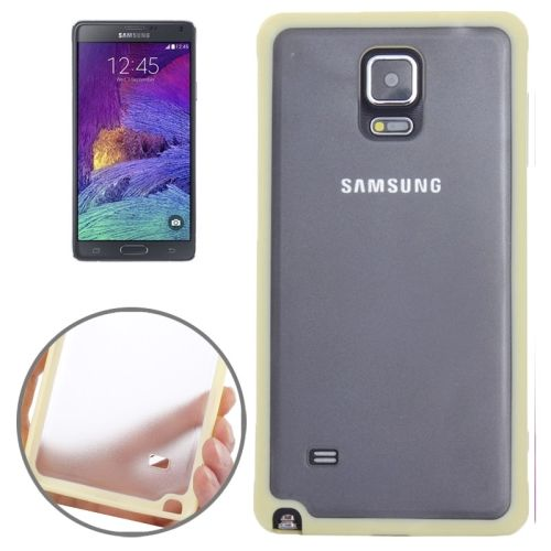 TPU and Transparent Frosted PC Protective Case for Samsung Galaxy Note 4 (Yellow)