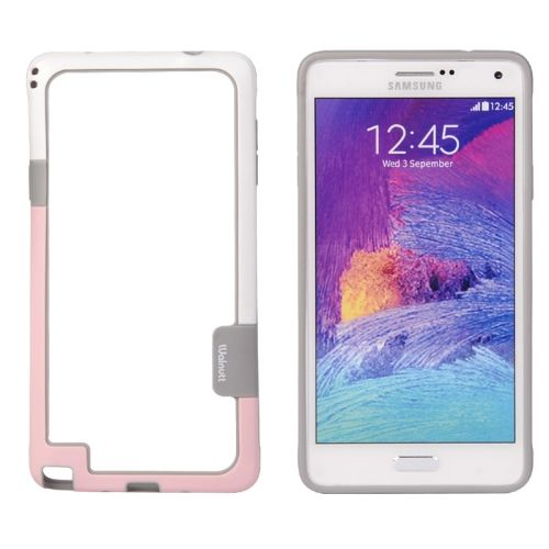 Two-tone Bumper Frame for Samsung Galaxy Note 4 (Pink and White)