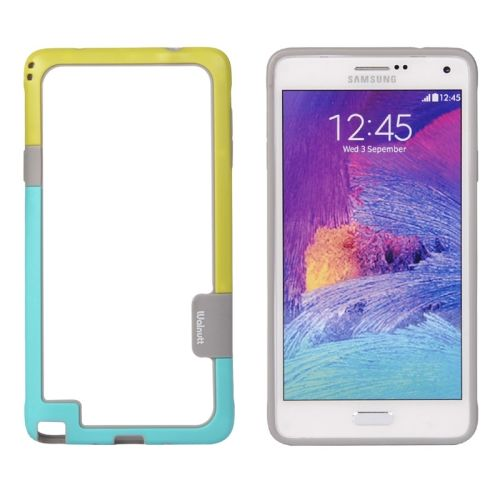 Two-tone Bumper Frame for Samsung Galaxy Note 4 (Yellow and Baby Blue)