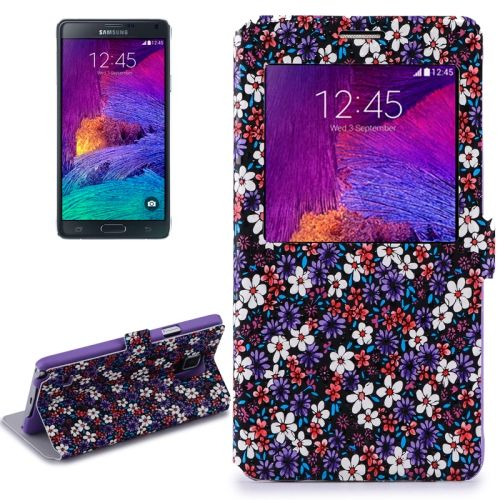 Flower Design Flip Leather Case for Samsung Galaxy Note 4/ N910 (Purple)