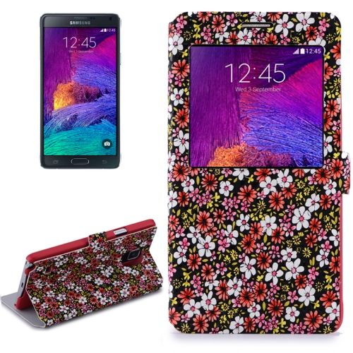 Flower Design Flip Leather Case for Samsung Galaxy Note 4/ N910 (Red)