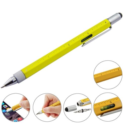 Popular Multi-functional 6 in 1 Professional Stylus Pen for iPhone 6 / iPhone 5S/ iPad Air 2 (Yellow)