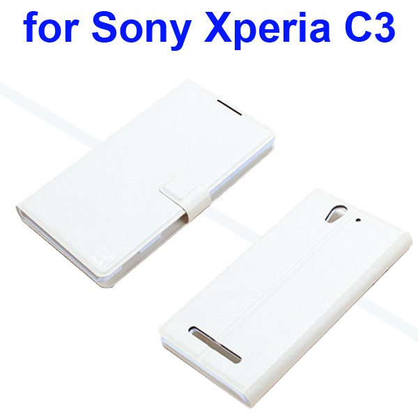 Silk Texture Wallet Style Leather Case Flip Cover for Sony Xperia C3 S557 (White)