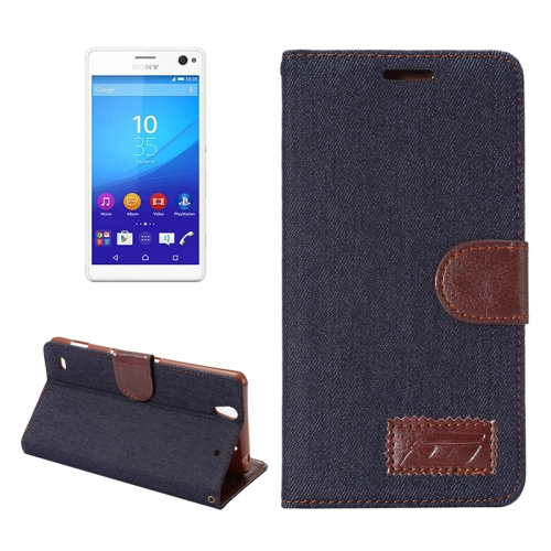 Denim Texture Flip Leather Wallet Case for Sony Xperia C4 / E5303 / E5306 / E5353 with Card Slots (Black)