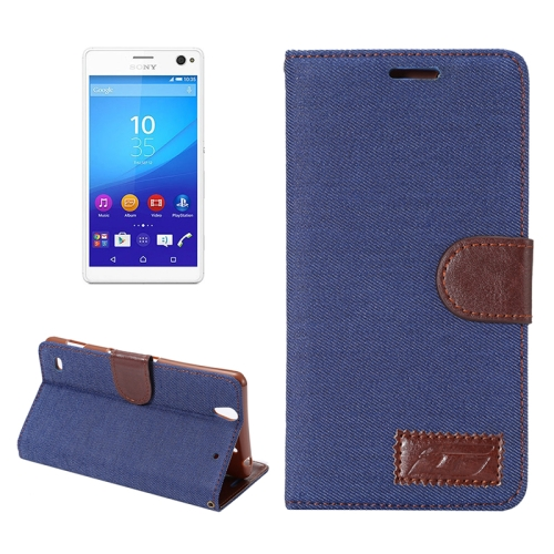 Denim Texture Flip Leather Wallet Case for Sony Xperia C4 / E5303 / E5306 / E5353 with Card Slots (Dark Blue)