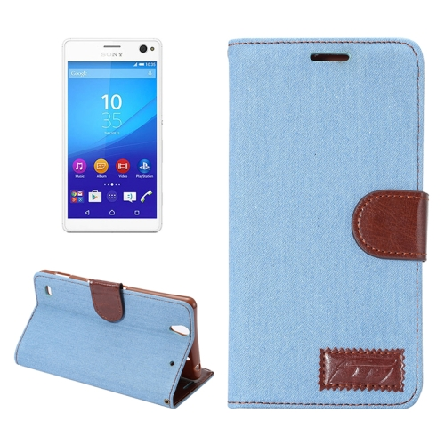 Denim Texture Flip Leather Wallet Case for Sony Xperia C4 / E5303 / E5306 / E5353 with Card Slots (Blue)