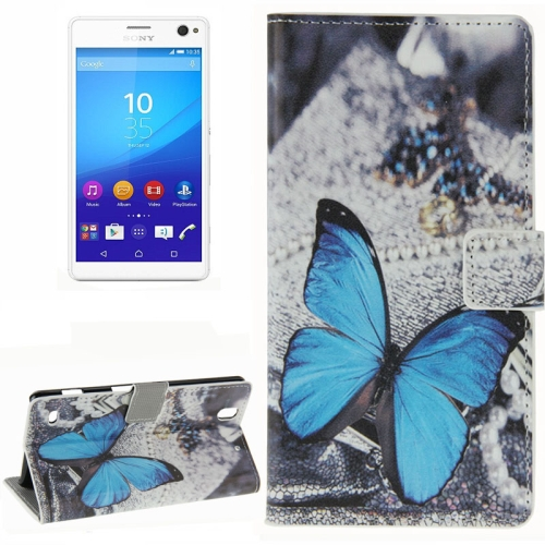 Colorful Design Wallet Style Leather Case for Sony Xperia C4 with Holder Cards Slots (Blue Butterfly)