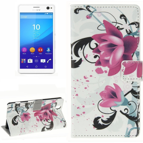 Colorful Design Wallet Style Leather Case for Sony Xperia C4 with Holder Cards Slots (Lotus Flower)