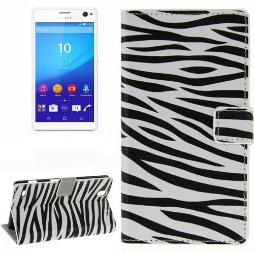 Colorful Design Wallet Style Leather Case for Sony Xperia C4 with Holder Cards Slots (Zebra Line)