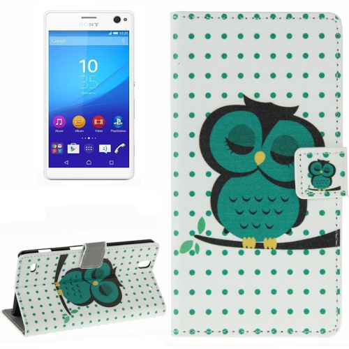 Colorful Design Wallet Style Leather Case for Sony Xperia C4 with Holder Cards Slots (Owl Pattern)