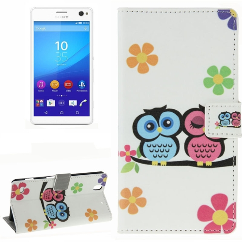 Colorful Design Wallet Style Leather Case for Sony Xperia C4 with Holder Cards Slots (Two Owls)