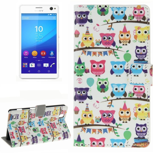 Colorful Design Wallet Style Leather Case for Sony Xperia C4 with Holder Cards Slots (Owl Baby)