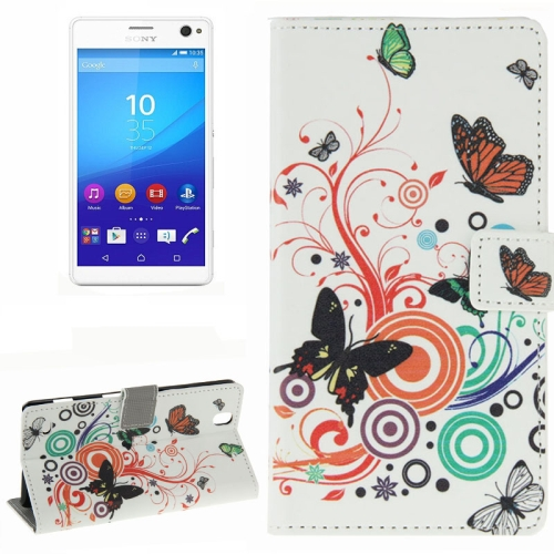 Colorful Design Wallet Style Leather Case for Sony Xperia C4 with Holder Cards Slots (Orange Butterfly)