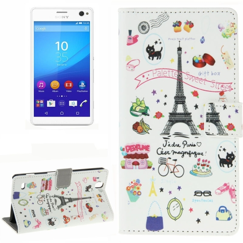 Colorful Design Wallet Style Leather Case for Sony Xperia C4 with Holder Cards Slots (Eiffel Tower)