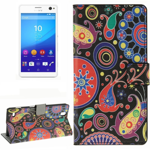 Colorful Design Wallet Style Leather Case for Sony Xperia C4 with Holder Cards Slots (Cartoon Colorful)
