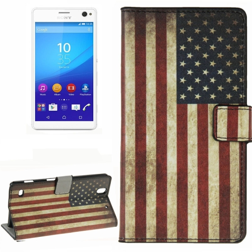 Colorful Design Wallet Style Leather Case for Sony Xperia C4 with Holder Cards Slots (USA Flag Pattern)