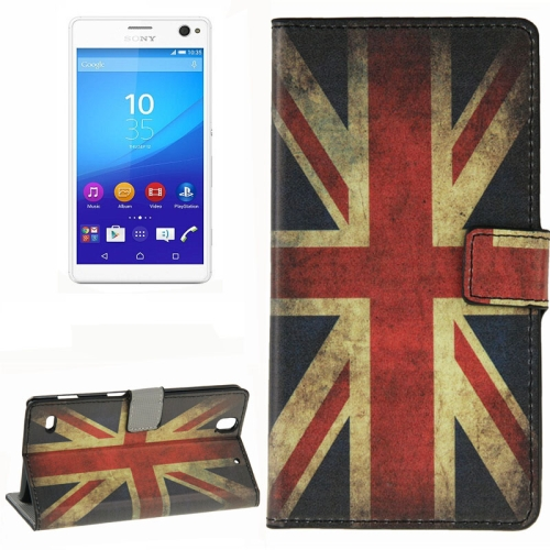 Colorful Design Wallet Style Leather Case for Sony Xperia C4 with Holder Cards Slots (UK Flag Pattern)
