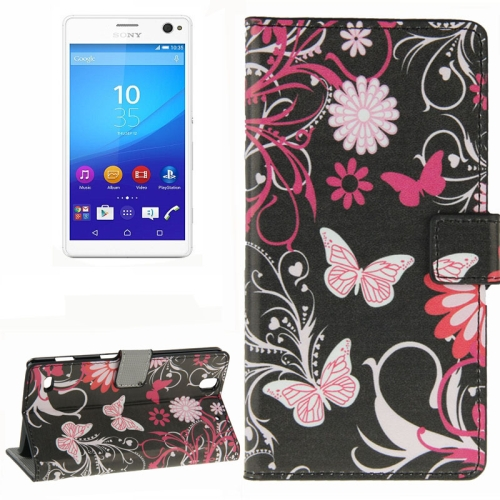 Colorful Design Wallet Style Leather Case for Sony Xperia C4 with Holder Cards Slots (Butterfly Loves Flower)
