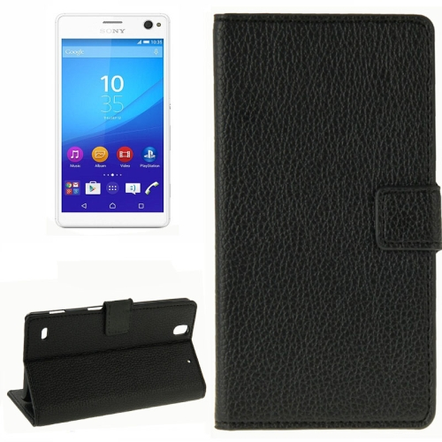 Litchi Texture Horizontal Flip Leather Wallet Case for Sony Xperia C4 (Black)