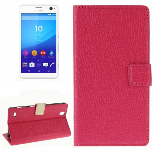 Litchi Texture Horizontal Flip Leather Wallet Case for Sony Xperia C4 (Magenta)