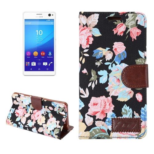 Flower Pattern Cloth Leather Case for Sony Xperia C4 with Holder & Card Slots (Black)
