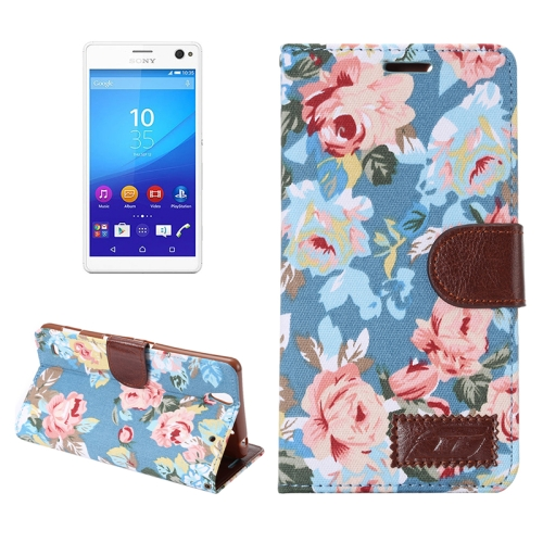 Flower Pattern Cloth Leather Case for Sony Xperia C4 with Holder & Card Slots (Blue)