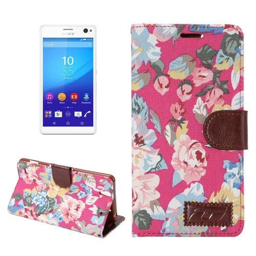 Flower Pattern Cloth Leather Case for Sony Xperia C4 with Holder & Card Slots (Red)