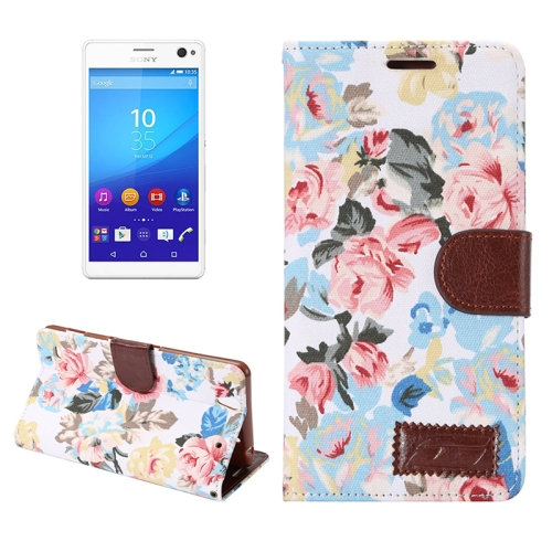 Flower Pattern Cloth Leather Case for Sony Xperia C4 with Holder & Card Slots (White)