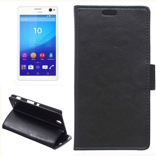 Crazy Horse Texture Horizontal Wallet Flip Leather Case for Sony Xperia C4 with Magnetic Buckle (Black)