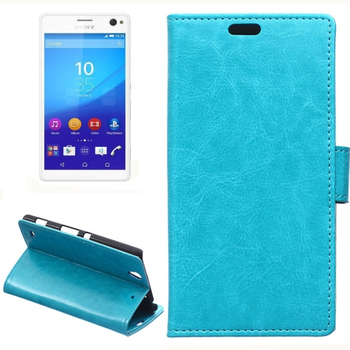 Crazy Horse Texture Horizontal Wallet Flip Leather Case for Sony Xperia C4 with Magnetic Buckle (Blue)