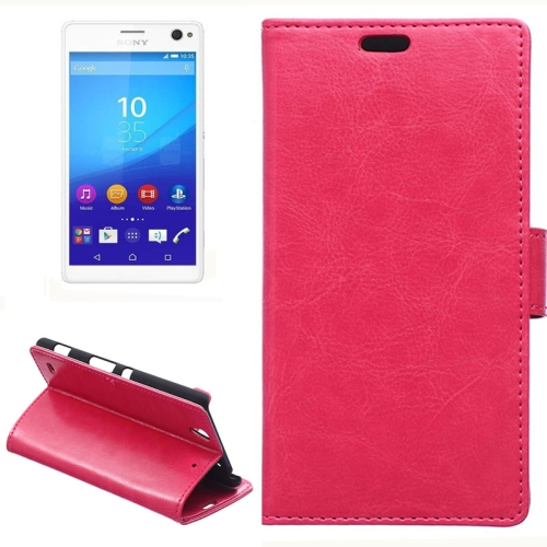 Crazy Horse Texture Horizontal Wallet Flip Leather Case for Sony Xperia C4 with Magnetic Buckle (Rose)