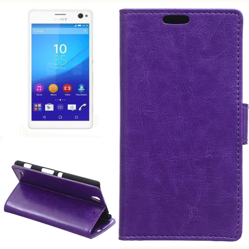 Crazy Horse Texture Horizontal Wallet Flip Leather Case for Sony Xperia C4 with Magnetic Buckle (Purple)