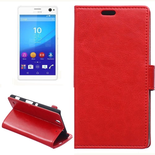 Crazy Horse Texture Horizontal Wallet Flip Leather Case for Sony Xperia C4 with Magnetic Buckle (Red)
