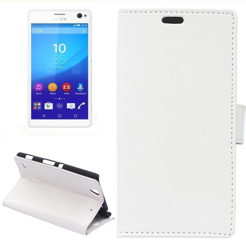 Crazy Horse Texture Horizontal Wallet Flip Leather Case for Sony Xperia C4 with Magnetic Buckle (White)
