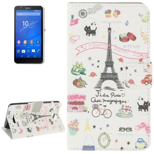 Colorful Design Leather Case with Holder Cards Slots Wallet for Sony Xperia E4(Eiffel Tower)